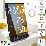 LED Digital Alarm Clock Snooze Mirror Alarm Clock with USB Charging Port