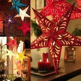 45cm Noel Lazer Kağıt Yıldız Hanging Dekorasyon Katlama El Yapımı 3D Pentagram Noel Dekoru