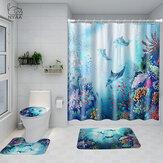 Impreso Ocean World Whale Impermeable Cuarto de baño Juego de alfombrilla de inodoro para cortina de ducha