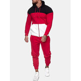 Mens Tricolor Patchwork Hoodie Jacket Drawstring Jogger Pants Sport Two Piece Set