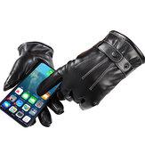 Touchscreen-Handschuhe Vollfinger Winter Warm verdickte Baumwolle Winddichtes PU-Leder Wasserdichtes Schwarz