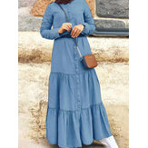 Women Retro Solid Color Pleated Button Up Stand Collar Casual Maxi Dress