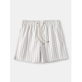 Mens Cozy Stripe Loungewear Shorts Cordão Secagem rápida Loose Mini Shorts