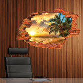 Miico Creative 3D Island Sea Sunset Coco Palm Removable Home Room Decoración de pared decorativa