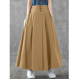 Women Solid Color Elastic Waist Button Swing Pleated Skirts With Side Pockets
