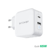 [GaN Tech] BlitzWolf® BW-S18 65W 2-Port USB-C PD Wall Charger PD3.0 Power Delivery Support QC3.0 SCP FCP Protocols Mini Adapter with EU Plug UK Plug US Plug For iPhone 12 12 Mini 12 Pro For iPad Pro 20020 For Samsung Galaxy Note 20 Ultra Huawei MacBook