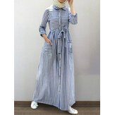 Women Stripe Long Sleeve Casual Double Pocket Maxi Shirt Dresses With Belt