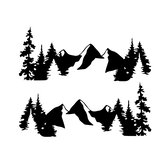 2pcs Snow Mountain Sidy Body Decal Vinyl Sticker For Off Road Camper Van Motorhome Boat Yacht Car Universal