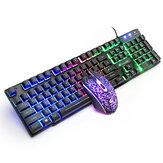 Darmowe Wolf T11 Przewodowa klawiatura mechaniczna Mysz Rainbow Rainbow RGB Podświetlenie Klawiatura do komputera PC Laptop