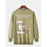 Erkek Tasarım Slogan ve Çiçekli Sırt Baskı Yuvarlak Boyun Kazak Uzun Kollu Tişörtü