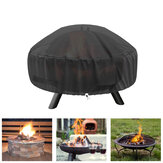 48 Inch Outdoors Waterproof 210D Polyster BBQ Grill Protective Cover with Thick PVC Coating Round Fire Stove Cover