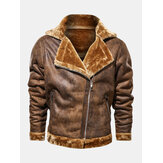 Mens Asymmetric Zipper Faux Fur Thicken Lapel Collar Casual Jacket