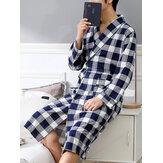 Erkek Ekose Baskı Uzun Kollu Rahat Pijama Bornoz Ev Robe Cepli