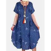 Robes vintage à manches courtes et col rond imprimé tribal pour femmes