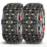 2pcs Full Cover Tire Snow Chains Anti-Slip Sand Muddy Roads with Quenched Steel Studs Winter Safety Emergency Necessities For Cars SUV Tru ATV Motorcycle