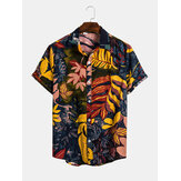 Mens Cotton Tropical Leaves Imprimir camisas casuais de férias respiráveis