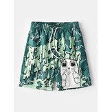 Mens Funny Graffiti Print Mesh Liner Quick Dry Holiday Casual Board Shorts