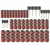 102pcs 120 Grit Kit Tambour avec Mandrins de Bande de Ponçage 1/2 3/8 1/4 pouces Adaptateur Outils Dremel Rotatifs