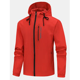 Heren Letter Print Sport Waterproof Big Pocket Zipeer Hoodie Jacket
