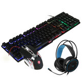 Bakeey Mice Keyboards Headphones Combo 104-Key Backlit Mechanical Waterproof Wired Keyboard G5 800DPI Wired Mice 7.1 Stereo Sound 3.5MM USB E-Sports Headset with Mic RGB Luminous Gaming Set