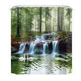 3D Waterfall Scenery Waterproof Shower Curtain Anti-slip Bath Mats Carpets Pedestal Rugs Bathroom Decoration Set