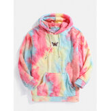 Butterfly Embroidered Tie Dye Pocket Long Sleeve Fluffy Hoodies