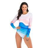 女性のグラデーションプリントジッパー長袖スポーツサーフィンスーツ水着