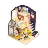Hoomeda M041 DIY Doll House Shining Star With Cover Miniature Furnish Music Light Gift Decor Toys