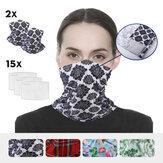 2szt. Maska na twarz +15 szt. Filtrów Kolarstwo na zewnątrz Oddychająca pół-maska przeciwsłoneczna odporna na promieniowanie UV z 15 x filtrami Wielofunkcyjny pyłoszczelny szalik na głowę