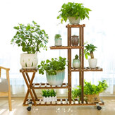 Wooden Plant Flower Pot Stand Shelf  Indoor Outdoor Garden Planter With Wheels
