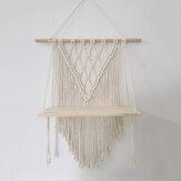Baumwolle Wandteppich gewebte Makramee Boho Pflanze Kleiderbügelhalter Wandteppich Wandbehang Kunst Home Storage Decor