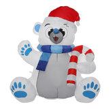 1.2M LED świąteczna wodoodporna poliestrowa wbudowana dmuchawa Odporna na promieniowanie UV nadmuchiwana zabawka niedźwiedzia na świąteczne dekoracje Party Gift