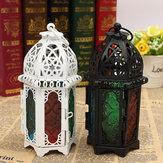 Lanterna de ferro oco marroquino do vintage Chá Castiçal de suspensão leve do castiçal