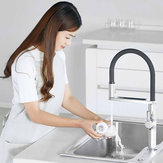 DABAI Kitchen Sink Sensor Faucet w/ Pre-rinser Sprayer Induction Rotatable Touchless One Handle Hot Cold Mixer Tap from