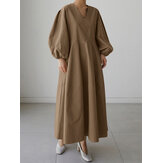 Women Solid V-neck Puff Sleeve Loose Plain Casual Maxi Dress With Pocket