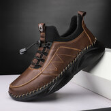 Men Comfy Cowhide Leather Light Weight Soft Casual Sport Shoes