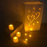 10PCS Double Heart Paper Lantern Candle Bag Tea Light Holder for Christmas Wedding Home Decoration