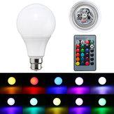 B22 5W調光可能なRGBカラーLEDライトランプバルブリモコンAC85-265Vを変更する