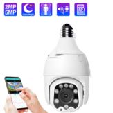 ECQ06-5MP Câmera IP WiFi Rastreamento Automático Sem Fio 5MP Visão Noturna PTZ Velocidade à Prova de Água Dome Câmera de Vigilância PTZ E27 Conector Armazenamento de Cartão TF