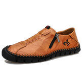 Men Handmade Stitching Cowhide Soft Wearable Sole Business Casual Leather Shoes
