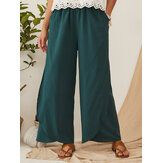 Casual Loose Elastic Waist Pocket Wide Leg Solid Pants For Women