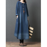 Women Doll Collar Denim Blue Long Shirt Dress