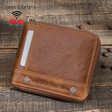 Men Genuine Leather RFID Anti-theft Rivets Decorated Zipper Retro Business Multi Card Slot Leather Card Holder Wallet