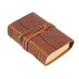 Cuaderno de bocetos de cuero retro Piel Genuina Cuaderno de diario 400P Cuaderno de bocetos de papel en blanco hecho a mano Banda Cuaderno