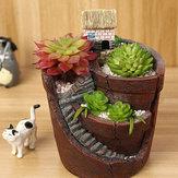 Colgante jardín en maceta micro paisaje carne planta ollas casa pequeña resina decoración