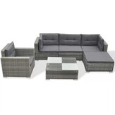 KCASA 6/8Pcs Gray Rattan Garden Sets Luxury Sofas Removable Outdoor Garden/Living Room Lounge Chair Sets