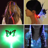 12pcs Novelty LED Shining Hair Braids Barrette Flash LED Fiber Hairpin Clip Light Up Headband Decorations