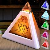 Piramidevorm digitale wekker met datum Temperatuur 7 kleuren LED Change Backlight