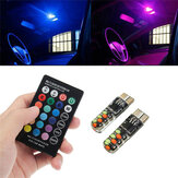 Par T10 RGB LED Car Wedge Side Marker Luzes Piscando Lâmpadas Kit com remoto Controlador