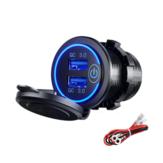 12-24V QC 3.0 Interruptor táctil de cargador USB dual rápido Impermeable Accesorio para camión Moto Coche barco